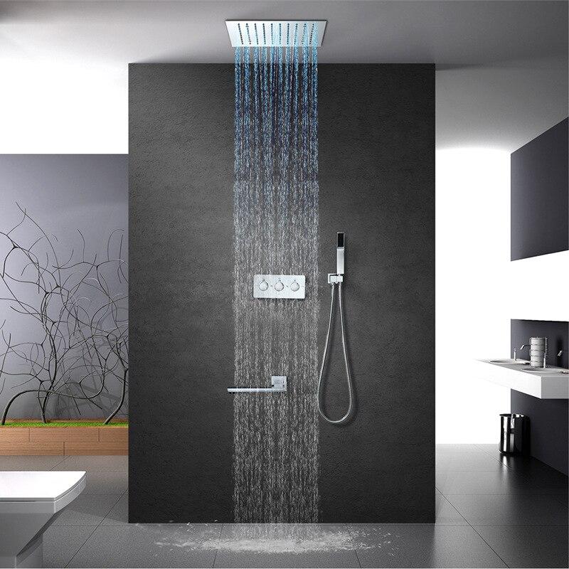 Lumière LED de luxe pluie 304 SUS pomme de douche 30cm encastré plafond monté en laiton robinets de douche ensemble bec robinet baignoire robinets - 2