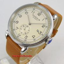 лучшая цена new arrive polished vintage  mens watch 42mm Parnis beige dial white dila blue dial sea-gull Automatic Movement Mens Watch P1273