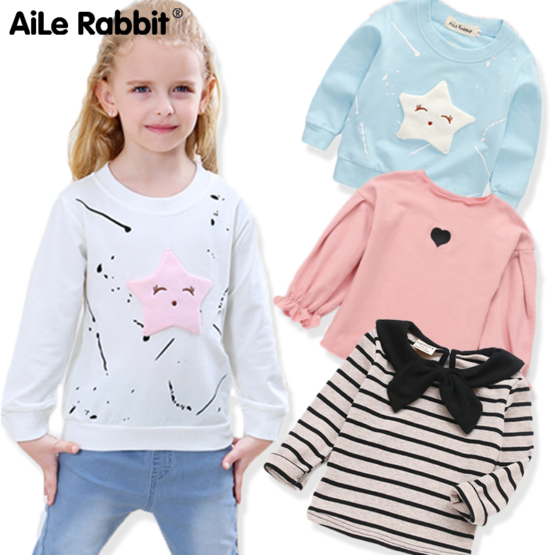 Clothing Shirt Tops Long-Sleeve Star Girls Rabbit Aile Children's New Casual Banner Tee