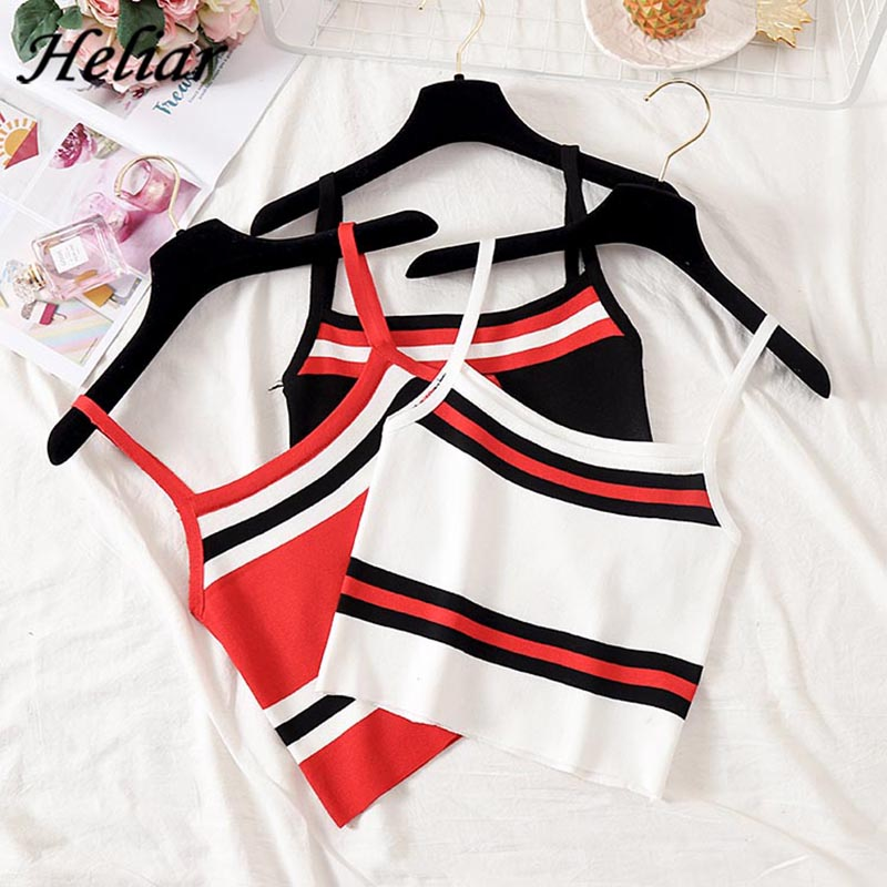 HELIAR 2020 Summer  Female Camisole Knitting Camis Sexy Crop Top Striped Cotton Camisole Femme Camis Women Spaghetti Tank Tops