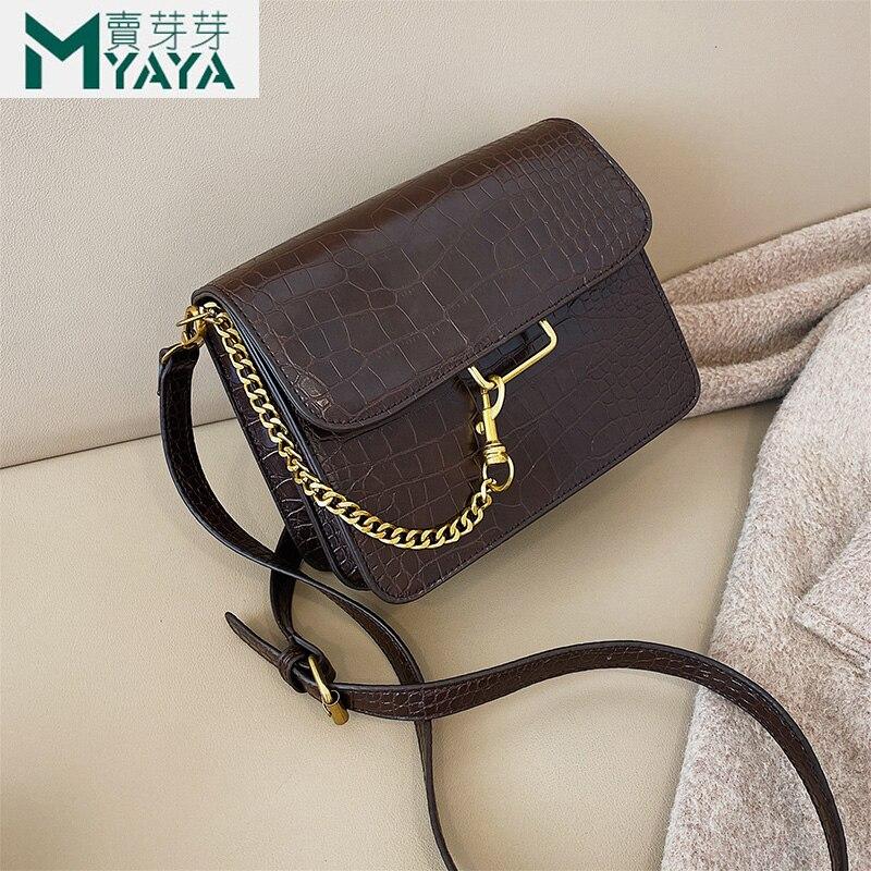 MAIYAYA Leather Alligator Women Shoulder Bag 2020 New Spring Fashion Messenger Bags Small Flap Chain Crossbody Bag For Girl Sac