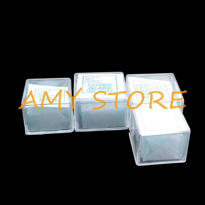 100pcs Transparent Slides Coverslips Coverslides Cover Glass 18x18 20x20 22x22 24x24mm Thickness 0.13-0.17mm For Microscope