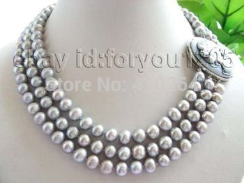 $wholesale_jewelry_wig$ free shipping 3rows Natural 9mm Round Gray Pearl Necklace Cameo