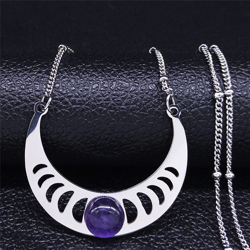 2020 Bohemian Moon Purple Natural Crystal Stainless Steel Necklaces Women Silver Color Necklaces Jewelry collier femme N4419S04