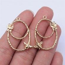 Wysiwyg 10 pçs 31x22mm kc ouro cor abelha borboleta encantos pingente para fazer jóias brinco fazer acessórios