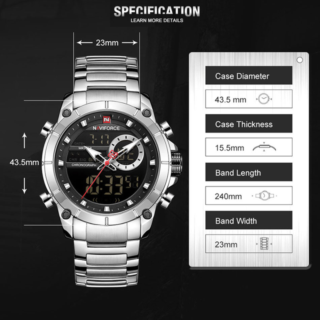 NAVIFORCE Watch Men Top Luxury Brand Men's  Sports Quartz Watches Full Steel Waterproof Digital Male Clock Set For Sale