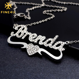 FINE4U N577 Personalized Name Necklace 18K Gold Plated Custom Nameplate Mom Bridesmaid Gift Jewelry for Women