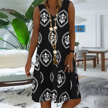 Women Dress Plus-Size Loose Vintage V-Neck Casual Beach Summer Ladies New Printing S-5XL
