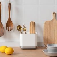 Caja de soporte para almacenamiento de cucharas, tenedores, palillos, escurridor de cubiertos de doble capa, estante organizador para cocina, escurridor de ventilación, antimolde