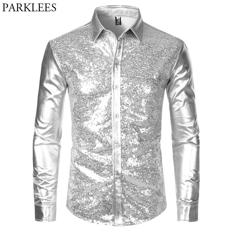 Silver Metallic Sequins Glitter Shirt Men 2019 New 70's Disco Party Halloween Costume Chemise Homme Stage Performance Shirt Male