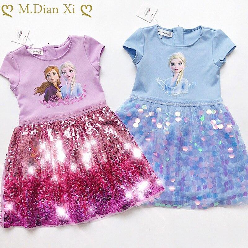 Menina vestido de verão do bebê crianças roupas princesa congelado anna elsa vestido neve rainha cosplay traje festa aniversário crianças roupas
