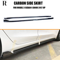 Model 3 Carbon Fiber Side Bumper Extension Skirt for Tesla Model 3 Sedan 4 Door 2017 UP Sikde Skirts