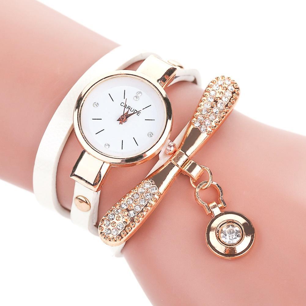 2019 Delicate  Multilayer Rhinestone Faux Leather Bracelet Casual Quartz Watch Gift Bracelet Women Wrist Quartz Waches Women