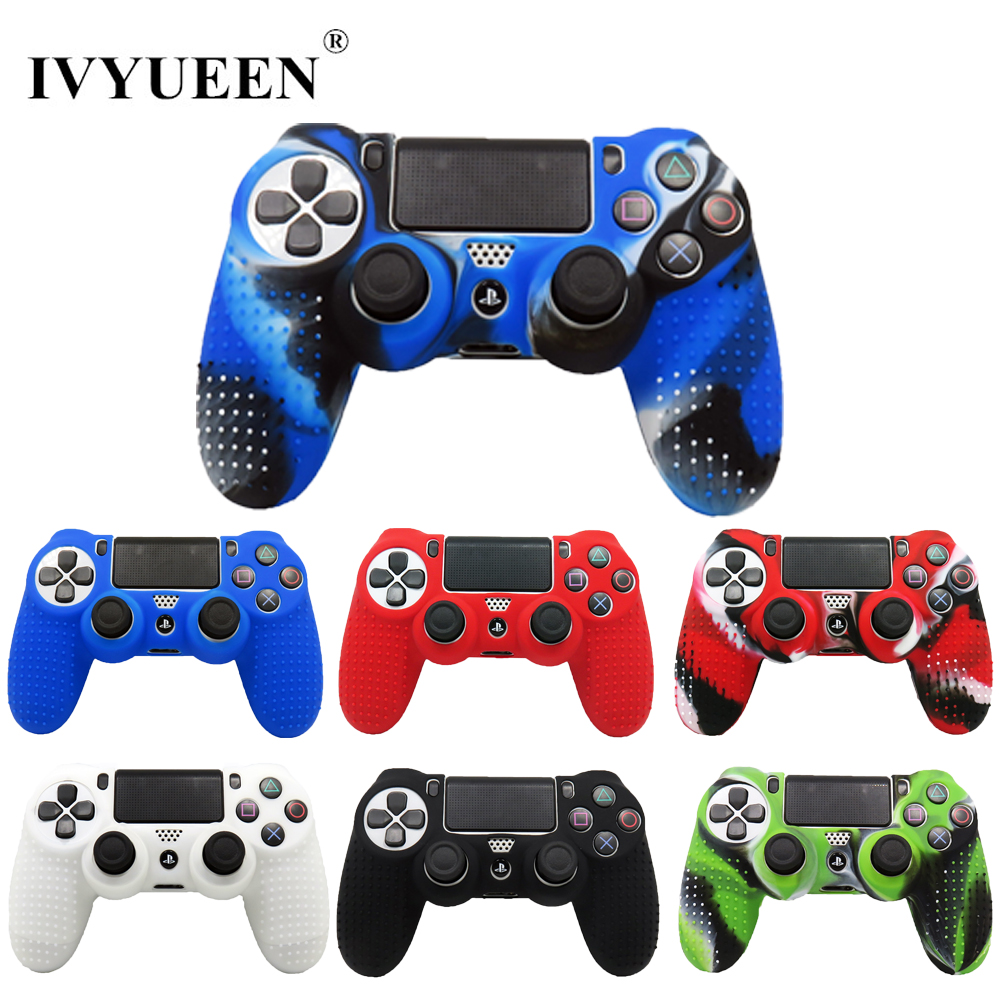 IVYUEEN Anti-slip Silicone Skin Case For Sony PlayStation Dualshock 4 PS4 Pro Slim Controller Cover With Thumb Stick Grips Caps