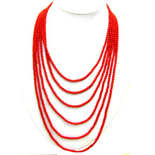 Red Coral Necklace Jewelry Chokers Women Qingmos for with Oval Beauty Clasp 6-Strands