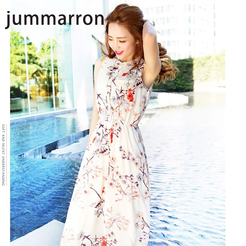 jummarron 2020 summer women <font><b>dress</b></font> sleeveless chiffon bohemia seaside vacation beach casual <font><b>dresses</b></font> young style girlfriend gift image