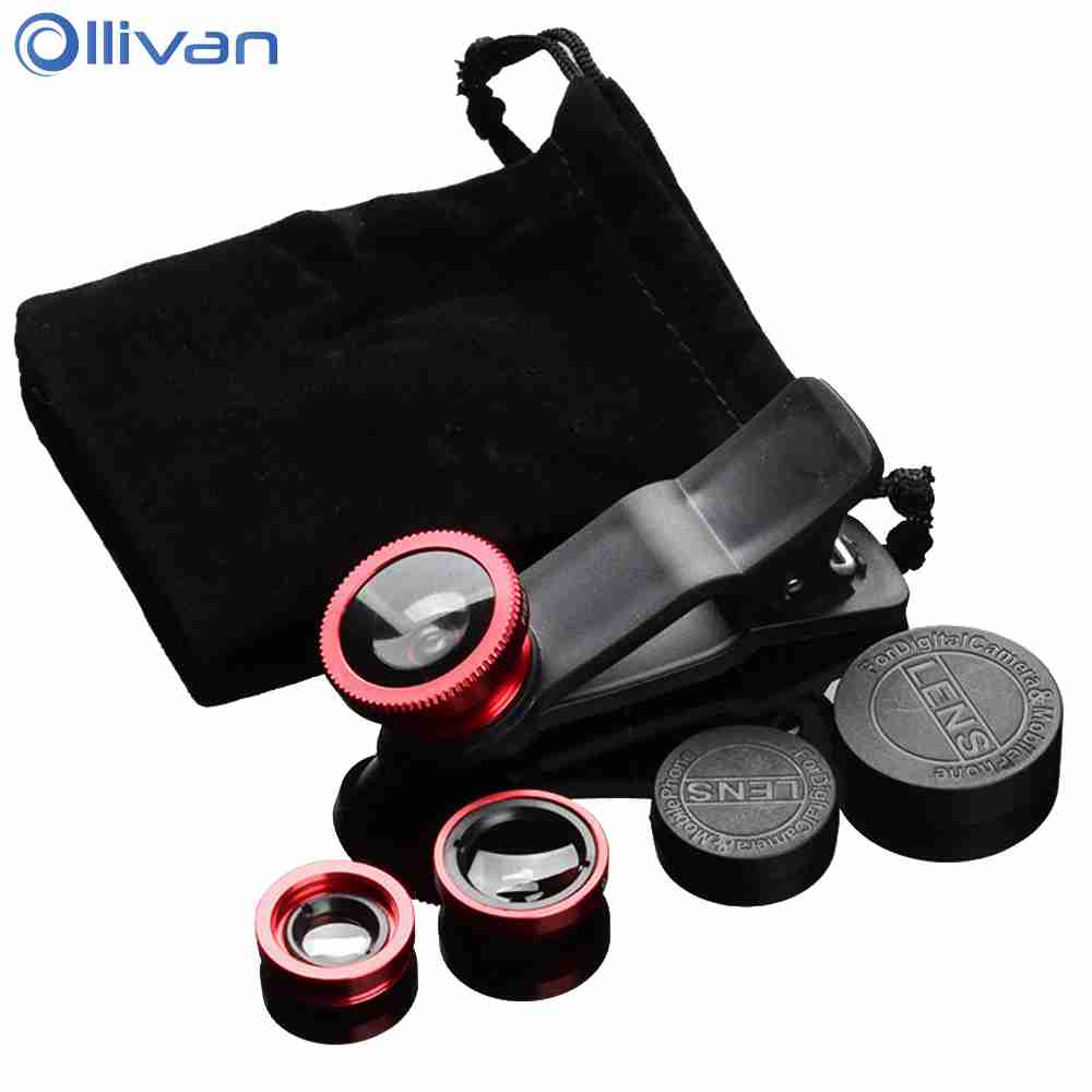 Universal 3 in 1 Wide Angle Macro Fisheye Lens Camera Mobile Phone Lenses Fish Eye Lentes For iPhone7 8 X Smartphone Accessories image