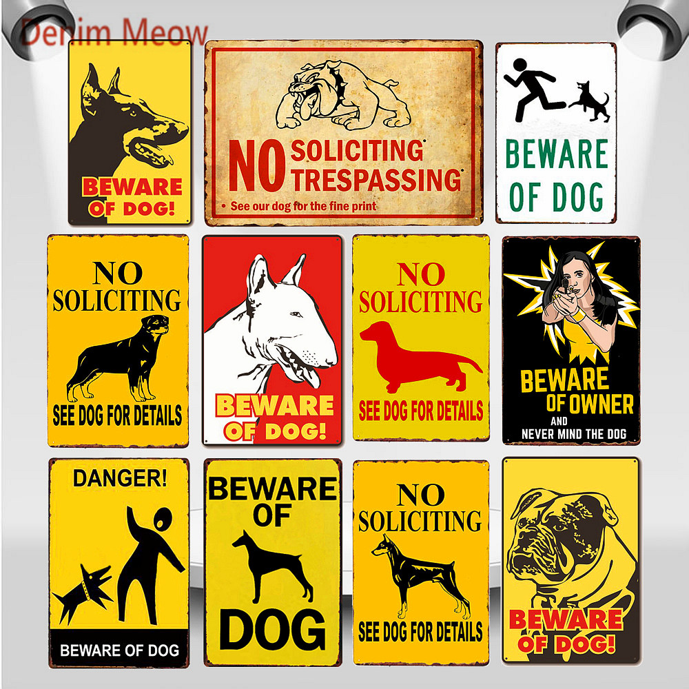 30X20cm Beware of Dog Metal Tin Signs No Soliciting Trespassing Vintage Wall Art Poster Retro Slogan Painting Home Decor WY77