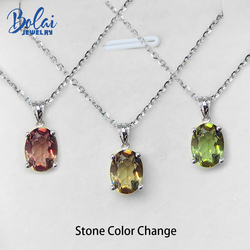 Bolai 1.5ct Color Changing Nano Diaspore Pendant Necklace 925 Sterling Silver Gemstone Fine Jewelry For Women Basic Style Gift