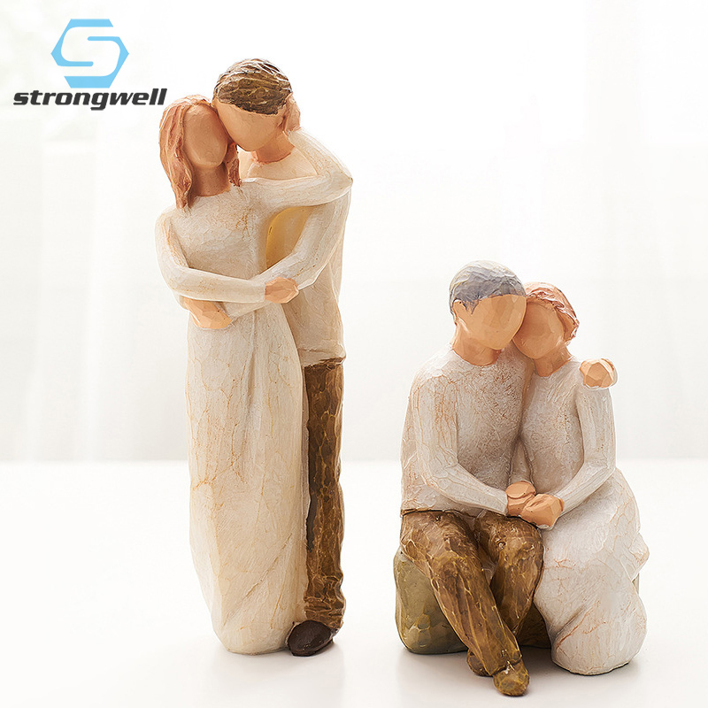 Strongwell Nordic Resin Families Abstract Characters Sculpture Simple Statue Home Decoration Modern Kids Toys Birthday Gifts