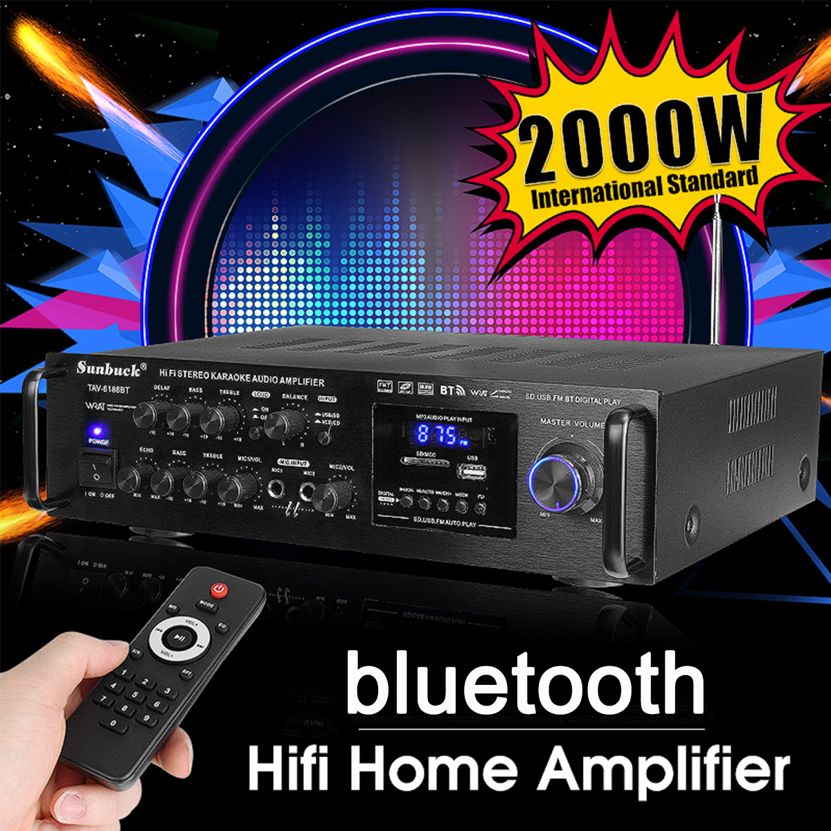 Powerful 2000W 110V 220V Bluetooth 4ohm Stereo Audio Power HiFi Amplifier Karaoke Amplifier+RC Support 2 MIC FM Power Amplifier