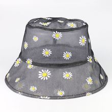 Bucket Hat Women Summer Sun Beach Transparent Flowers Breathable Climbing Holiday Outdoor Accessory