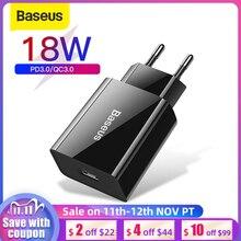 Chargeur USB rapide Baseus 18W prise en Charge rapide 3.0 USB type c PD chargeur Mini téléphone Portable pour huawei ForXiaomi ForiP