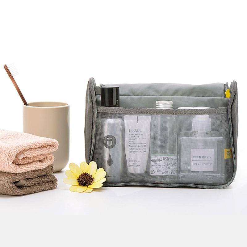 90Fun Travel Bag Portable Nylon Fabric Waterproof Large Opening U-shaped Hanging Design Half Net Storage Bath Shower Sets
