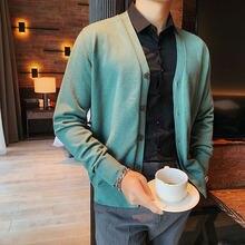 Модный корейский вязаный свитер Мужской приталенный Повседневный