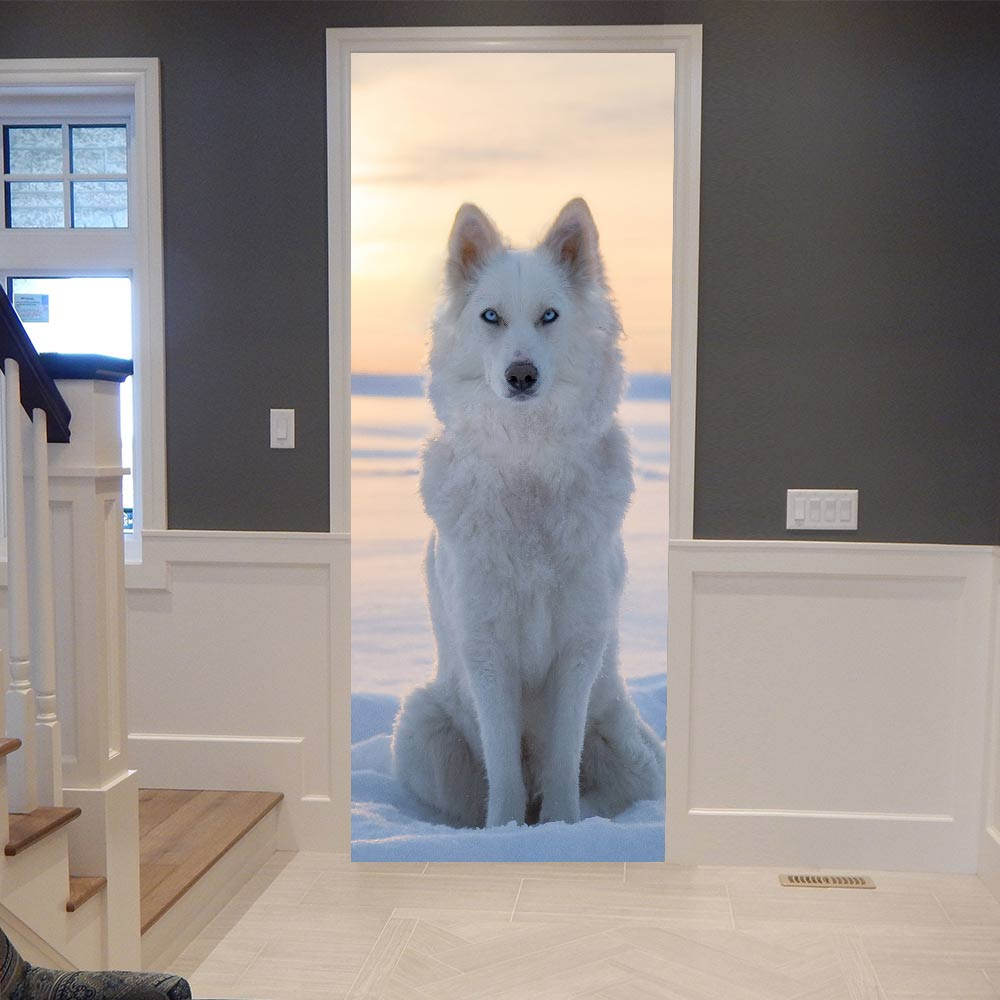 Home Decor Decal Poster 3D Creative Door Stickers Animal Fox Waterproof Wallpaper PVC Poster Print Art Picture For Bedroom Paste