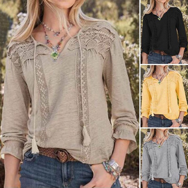 Tshirt Women Casual Solid V-neck Long Sleeve Lace Hollow Out Loose Top Aesthetic
