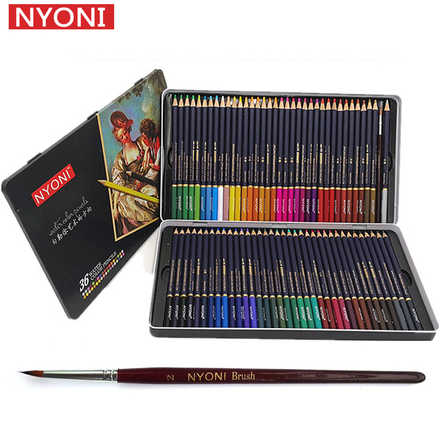 NYONI 36/48/72Colors Watercolor Pencils Set Drawing Pencils Crayons Lapices De Colores Colored Pencils Art Sketch Colour Pencil