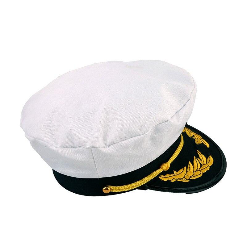 Men Hat Golden Leaves Embroidery Commander Cap Sailor Logo Sunhat British Army Caps Vintage Navy Cap Captain Flat Top