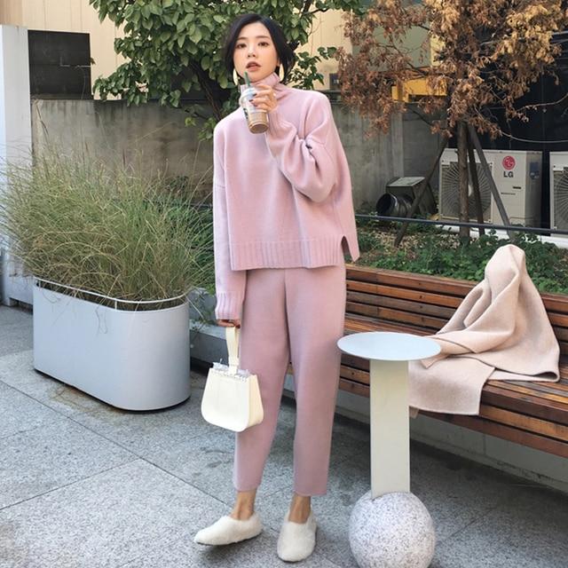 Pull décontracté pantalon tricoté 2 pièces ensemble col roulé pulls & taille élastique pantalon femmes pull ensembles 2019 automne tricoté ensemble 3