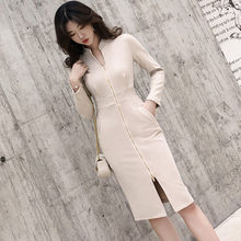 Fashion Women Long Shirt Dress Casual Evening Party Long Sleeve Beach Button Split Elegante Dresses(China)