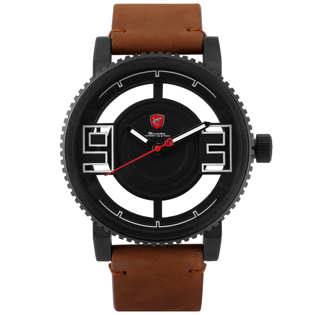 Megamouth Shark Sport Watch 3D Special Transparent Hollow Dial Design Luxury Brown Leather Band Men Creative Watches Gift /SH543