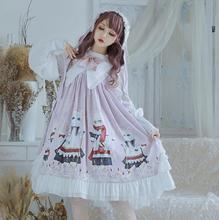 Palácio da princesa festa de chá doce impressão cardigan vestido vitoriano vestido lolita do laço do vintage bowknot bonito kawaii menina loli cos