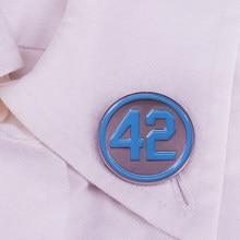 Эмалированная брошь № 42, синяя круглая брошь для лацканов, пальто, свитеров
