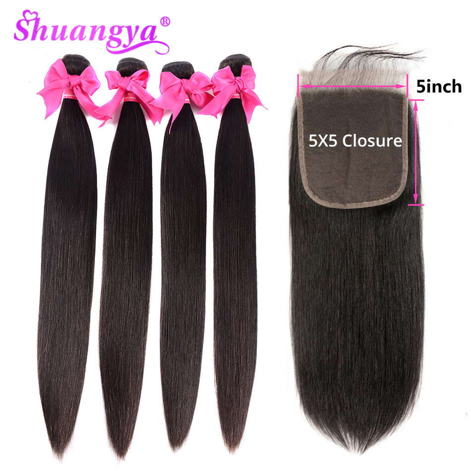 Shuangya Hair Indian Straight Hair Bundles With 5x5 Closure Human Hair 3 Bundles With Closure Natural Color Remy Hair Extension