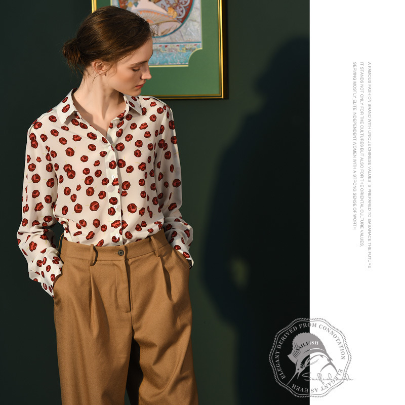 white rose floral silk blouse for women high quality long sleeve plus size casual sexy office dress shirts loose dropship