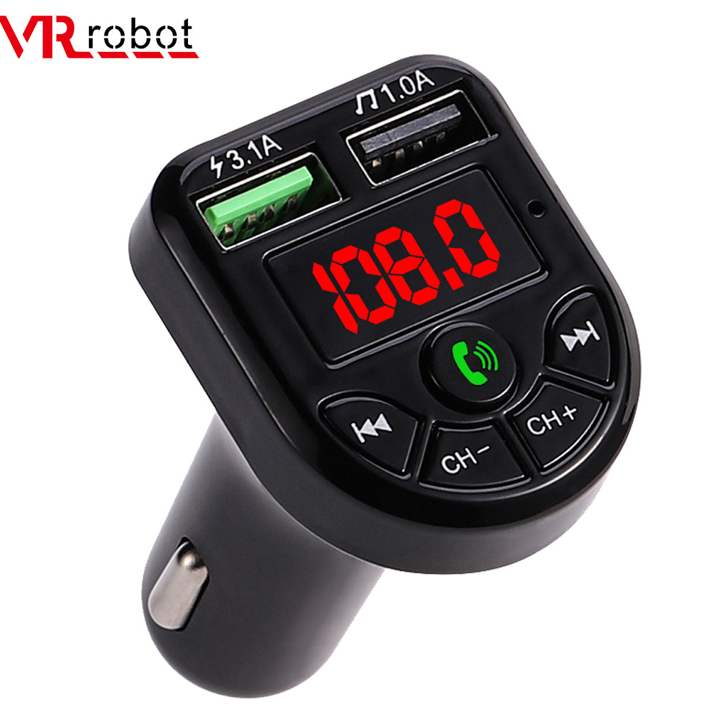 VR robot FM Transmitter Bluetooth Car MP3 Audio Player Handsfree Car Kit 5V 3.1A Dual USB Charger 12 24V TF U Disk Music Player|FM Transmitters| |  - title=