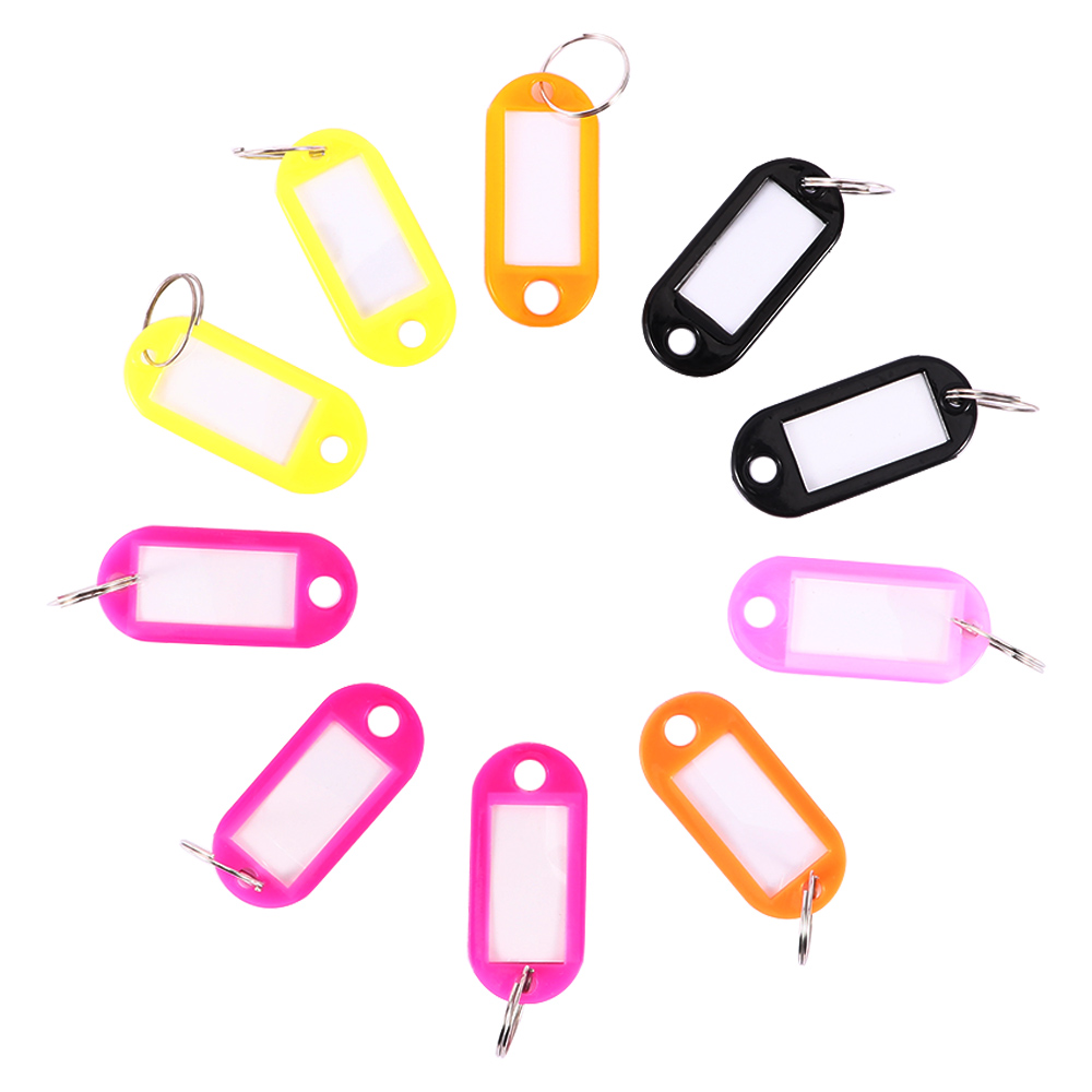 10 Pcs Plastic Custom Split Ring ID Key Tags Labels Name Key Chains Key Rings Numbered Name Baggage Luggage Tags