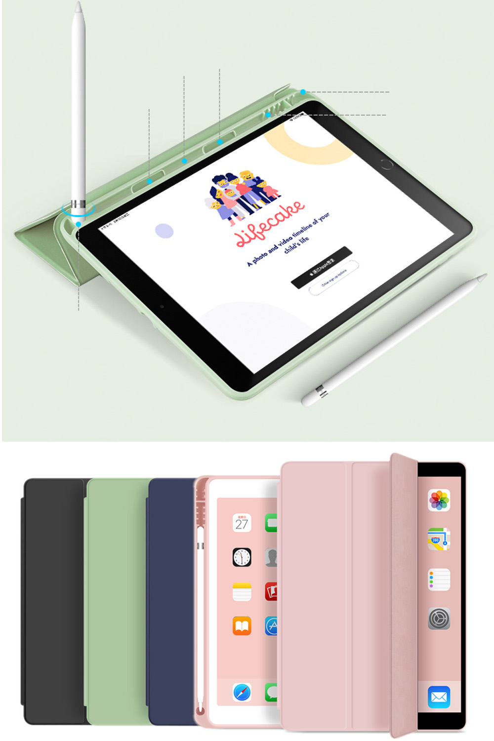 For New IPad 10.2 Inch 7th Gen 2019 Case With Pencil Holder , Slim Tri-fold PU Leather Smart Cover Have Wake Up Sleep