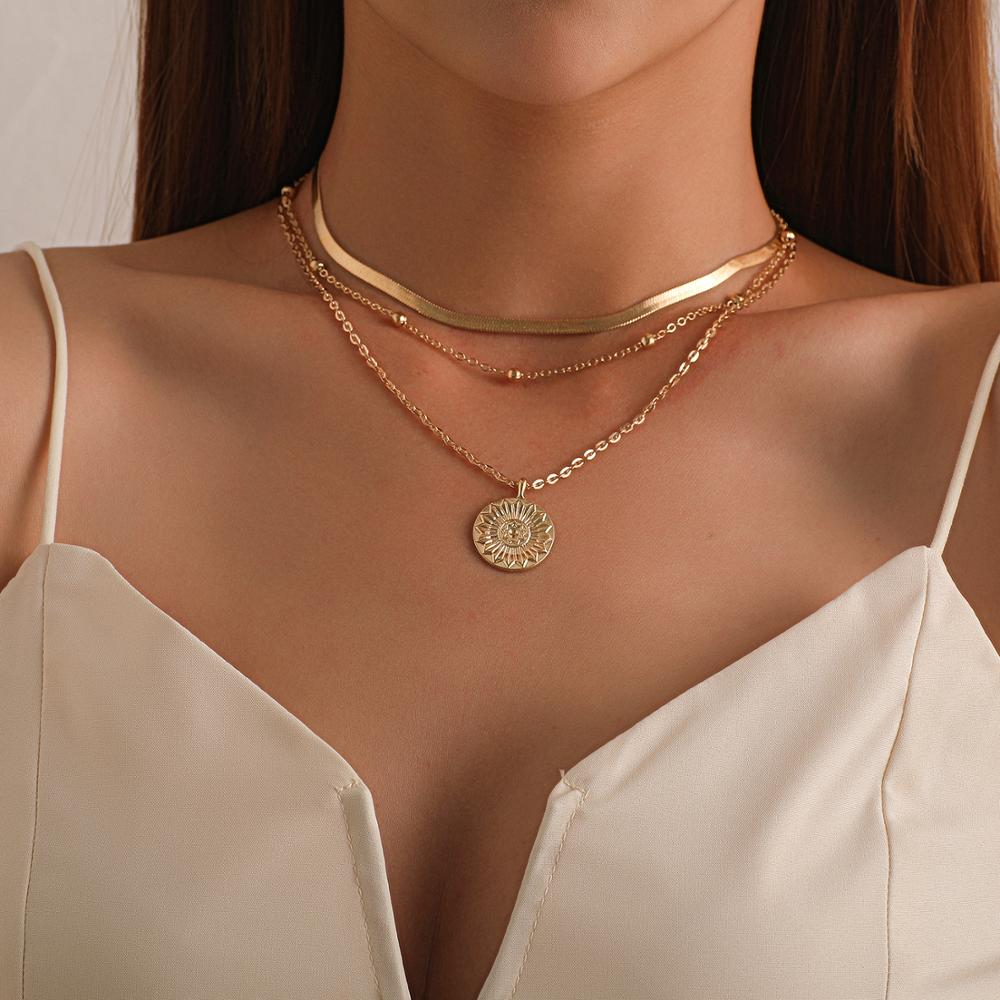 Vintage Bohemia Gold Coin letter Layered Chain Necklace For Women Shell Pearl Moon Long Choker Collar Pendant butterfly Necklace