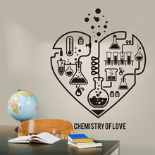 купить Large Chemistry Science Abstract Heart Wall Decal Laboratory Classroom Geek Chemistry Science Valentine Wall Sticker LW318 по цене 324.35 рублей