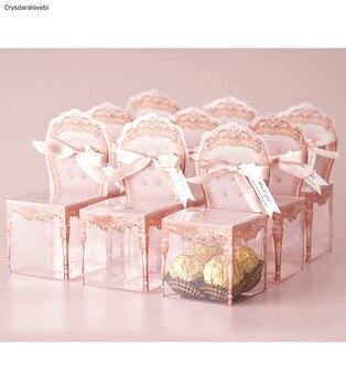 30pcs Creative Retro Wedding Sugar Rose Gold Box PVC Gift Box with Ribbon Decorative Wedding Favor Table Decor Candy Boxes