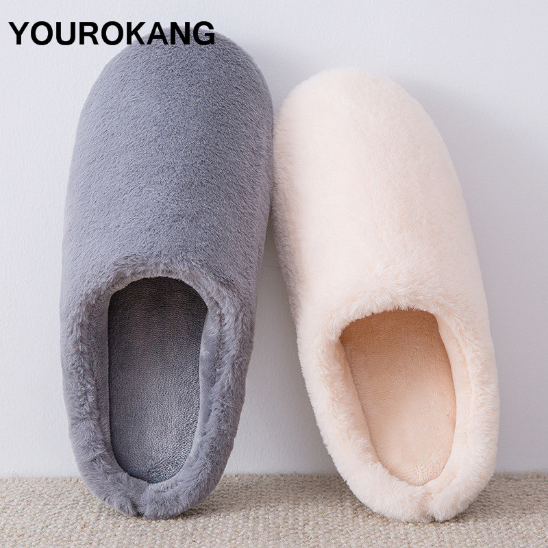 Men Home Slippers Winter Warm Bedroom Shoes Indoor Soft Lightweight Plush Slippers Furry Cotton Couple House Footwear Solid