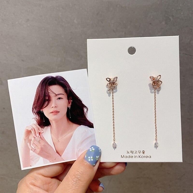 MENGJIQIAO Korean TV Star Cute Delicate Butterfly Zircon Drop DEarrings For Women Micro Paved Pendientes Mujer Moda Jewelry