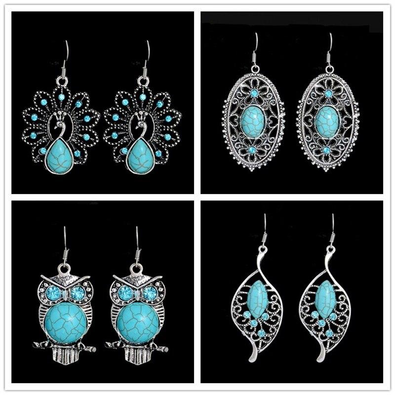 Korean Coeur Boucles doreilles or blanc rempli cristal bleu élégant Boucles D/'Oreilles Clou Femme