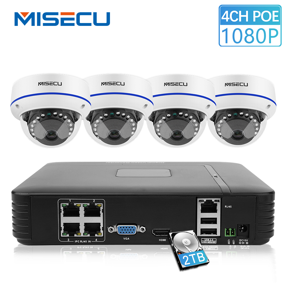 MISECU 4CH 1080P HDMI POE NVR Kit Security CCTV System 2MP Indoor CCTV Dome IP Camera IR-Cut P2P APP View Video Surveillance Set